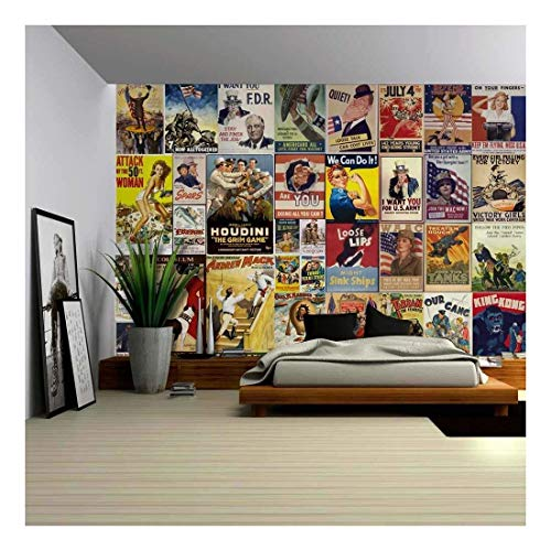 wall26 - Peel and Stick Wallpapaer - American Posters Collage with Vintage War Propaganda and Classic Movie Posters | Removable Large Wall Mural (Large Propaganda Poster)