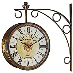 NAAYA'S DECOR Golden Brass Victoria Station Clock/Double Side Clock/360 Degree Rotatable/Wall Clock for Home (6 inch, 4)