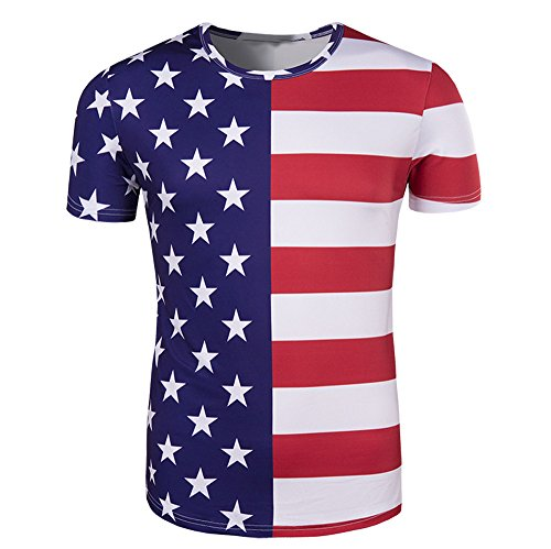 YAYUMI Mens American Flag Stars Short Sleeve Print Tank Top Shirt White