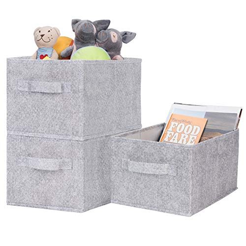 GRANNY SAYS Storage Baskets for Shelves, Cloth Organizer Bins with Handles for Home Closet Bedroom Drawers Organizers, Gray, 3-Pack]()