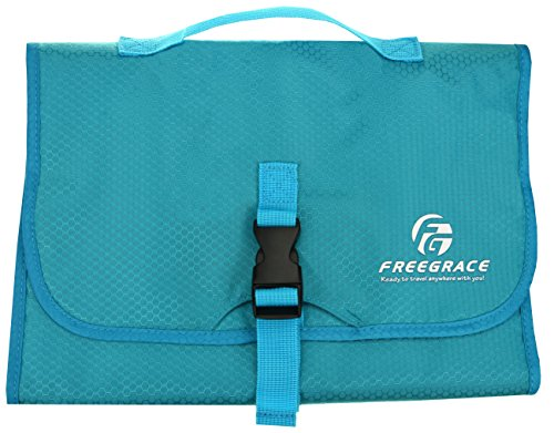 Premium Hanging Cosmetic Bag By Freegrace - Toiletry & Accessory Storage Organizer Bag - 7 Adjustable + 3 Fixed Pockets - Portable Personal Effects & Essentials Solution For Short Travel (Aquamarine)