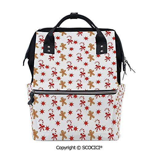 SCOCICI 3D Printed Laptop Daypack,Candy Cane with Bowties Red Star Figures Gingerbread Man Pattern,Vivid Custom Graphic Design