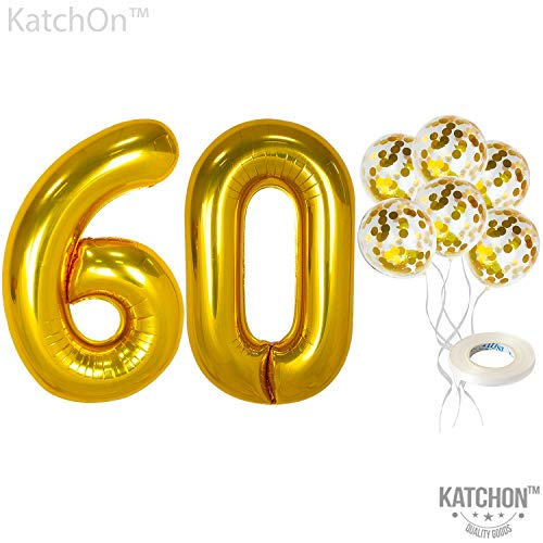 KatchOn Number 60 and Gold Confetti Balloons - Large, 40 Inch Foiil Gold Balloons | 5 Gold Confetti Balloons, 12 Inch | 60th Birthday Party Decorations | Party Supplies for Anniversary Décor