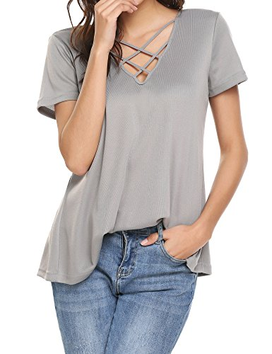 Showyoo Women's Casual Short Sleeve Solid Criss Cross Front V-Neck T-Shirt Tops Grey S
