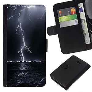 KingStore / Leather Etui en cuir / Sony Xperia M2 / Trueno Tormenta eléctrica Cielo Nocturno Negro