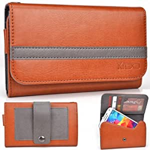 EXXIST® Graphite Series. Faux Leather Clutch / Wallet for ZTE Z998 ZTE Mustang (Color: Grenadier / Grey Stripe) -ESMLGPN2