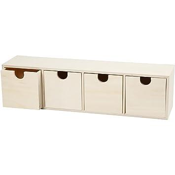 kleines Schubladen-Regal, Wandregal, mit 4 Schubladen, Holz unbehandelt