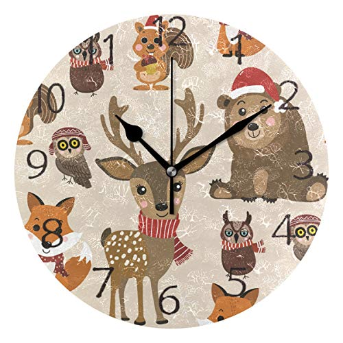 senya Wall Clock Silent 9.5 Inch Battery Operated Non Ticking Fox Squirrel Winter Costume Christmas Round Decorative Acrylic Quiet Clocks for Bedroom Office School Home by -