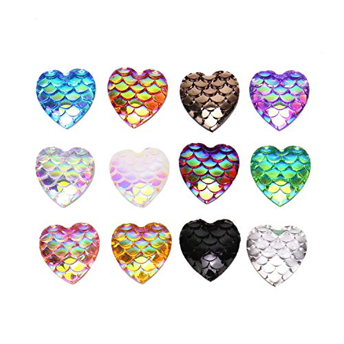 JETEHO 100pcs 12mm Resin Mermaid Style Fish Scale Heart Shape Flat Back Cabochons Flatback Charms DIY Jewelry Accessories Necklace Bracelet Making (Assorted Color)