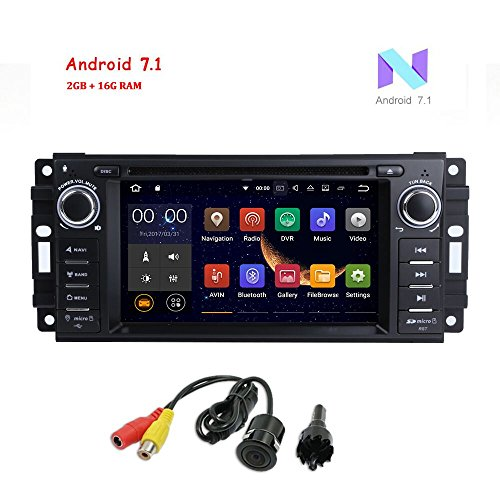 "MCWAUTO Android 7.1 Car Stereo GPS DVD Player for Dodge Ram Challenger Jeep Wrangler JK Head Unit Single Din 6.2"" Touch Screen Indash Radio Receiver with Navigation Bluetooth/3G/Rear - Car Bluetooth Dodge Ram Stereo"