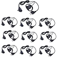Arama D Shape Ear Hook Earpiece Headset for Midland Alan 2 way radio - 2 pin D Shape Ear Hook Headset with PTT and MIC for Midland Alan Walkie Talkie (J108L02)(10XPack)