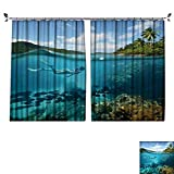 Auraisehome Decoration Polyester Material Beautiful Coral Reef with Lots of Fish and a Woman Floating in The sea for Children's Room W108 x L72