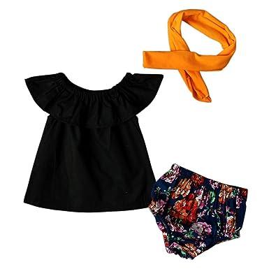 0-24 Mois Bébé Fille 3 Pcs Ensemble de Vêtement Été   Top Noir + ... 48022173d02