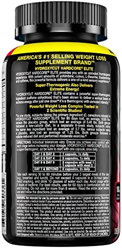 Hydroxycut Hardcore Elite Weight Loss Supplement, Designed for Hardcore Weight Loss, Energy & Enhanced Focus, 50 Servings (100 Pills) 3