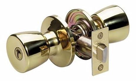 Master Lock TUO0303 Tulip Privacy Door Knob, Polished Brass