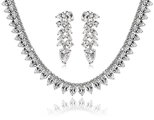 Epinki Silver Plated Jewelry Set, Wheat Drop Cubic Zirconia White Wedding Necklace And Earrings Set by Epinki