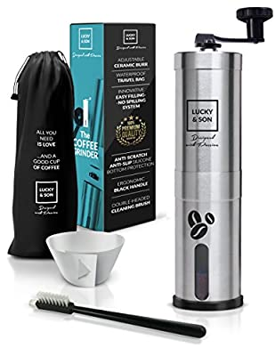 Manual Coffee Grinder Set with Adjustable Conical Burr-Stainless Steel Hand Coffee Mill by Lucky&Son from Lucky & Son
