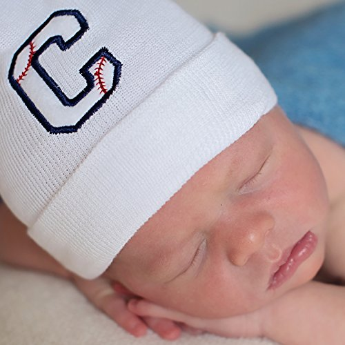 d3bd55b305576 Melondipity Baseball Initial Baby Boy Hospital Hat - Personalized Newborn  Hat