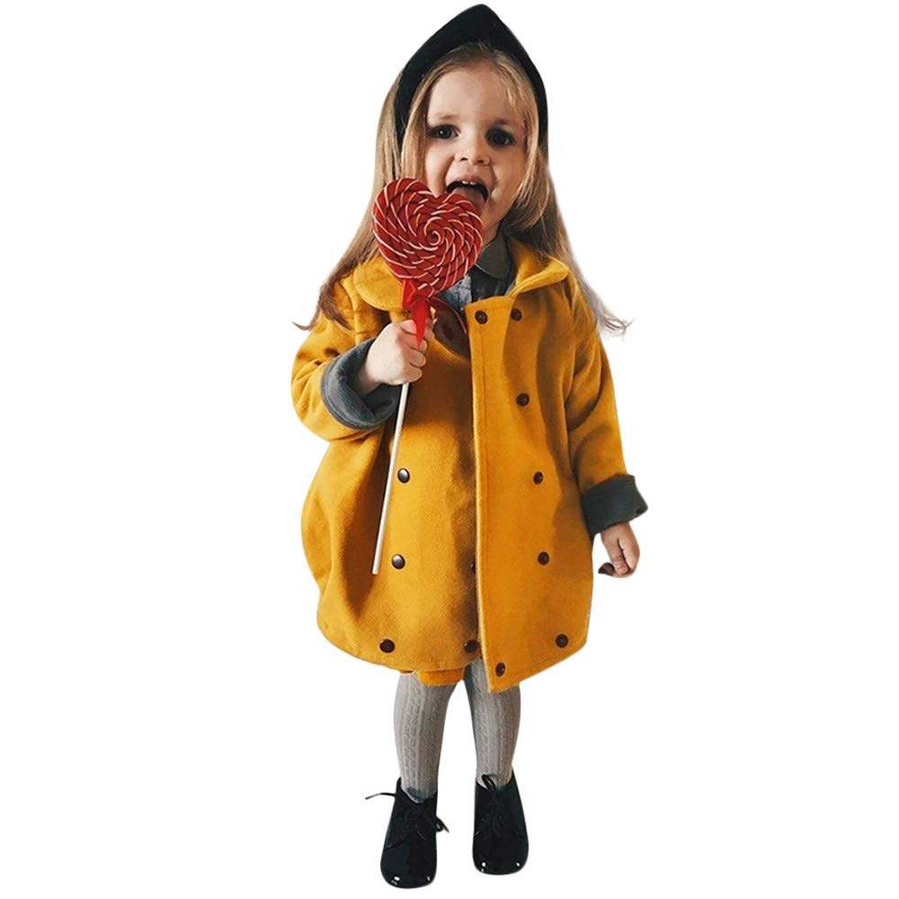 Clearance!! Kids Baby Girls Winter Windproof Coat,Warm Thick Button Solid Cloak Jacket Outerwear Party Dress Clothes (Yellow, 12-18 Months)