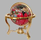 Collector's Edition14'' Tall Red Ocean Tripod Gold Leg Table Stand Gem Gemstone World Map Globe Globes Maps
