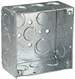 Steel City 52171 1/2&3/4E Pre-Galvanized Steel Square Box with Ground Bump and 1/2-Inch and 3/4-Inch Eccentric Knockouts