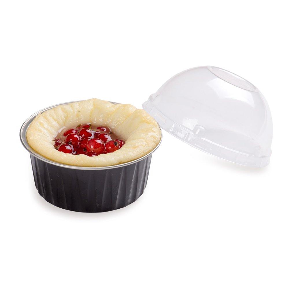 Round Baking Cups with Lids - 4.2 Ounce - Round Foil Baking Cups - Oven & Freezer Safe - Plastic Lids - 100ct Box - Restaurantware by Restaurantware (Image #4)