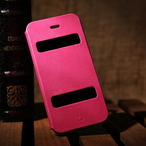 iPhone 5S Leather Case, Labato iPhone 5 Leather Stand Case Cover, Magnetic Design Fold Stand & Window Open 100% Handmade flip folio case cover for Apple iPhone 5/ 5S/ SE Rose Color Lbt-I5S-11L33
