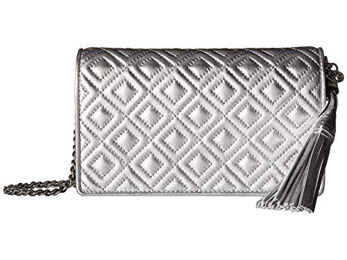 Tory Burch Women's Fleming Metallic Flat Wallet Crossbody Bag, Silver, One ()