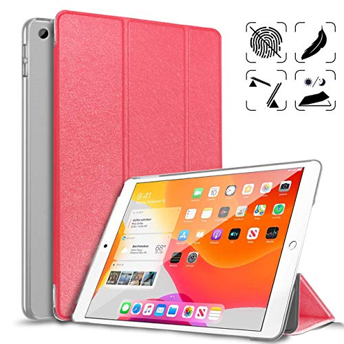 DAORANGE Case for New iPad 7th Generation 10.2 Inch 2019, Slim Lightweight Smart Shell Cover [Auto Wake/Sleep] with Hard Frosted Translucent Back Cover for Newest iPad 7th Gen 10.2'' 2019 (Red)