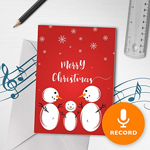 Christmas Greeting Card | Christmas Snowman Card, Christmas Card With Sound Recorder, Merry Christmas Greeting Card 00009 (120 Second Recordable) (Cards Recordable Christmas Voice)