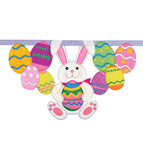Easter Bunny And Eggs Hanging Banner