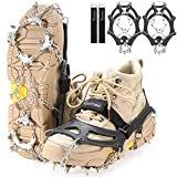 Sportneer Ice Cleats Crampons Traction, 19 Spikes Stainless Steel Anti-Slip Ice Snow Grips for Women, Kids, Men Shoes Boots, Safe Protect for Mountaineering, Climbing, Hiking, Walking, M, L, XL