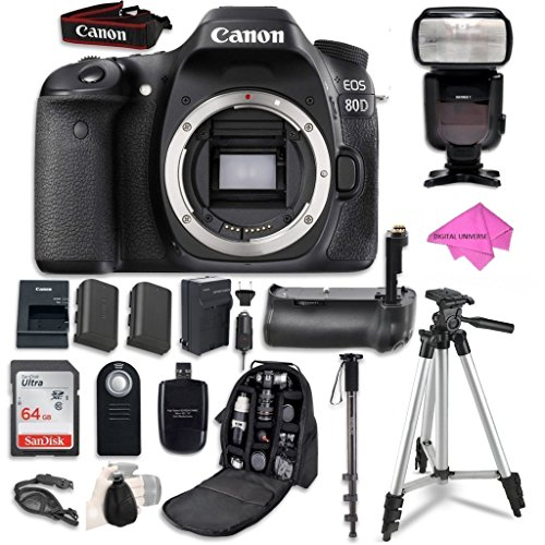 Canon EOS 80D Digital SLR Camera Bundle (Body Only) + SanDisk 64GB Ultra Class 10 SDHC UHS-I Memory Card + Wireless shutter release remote + Camera Case + Free Premium Professional Accessory Bundle by Canon