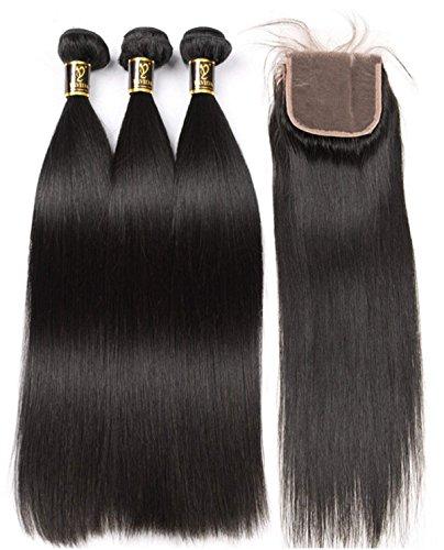 Yavida Brazilian Straight Hair Bundles with Closure Virgin Straight Hair 3 Bundles with Closure Free Part 340g Straight Bundles Natural Color 20 22 24+18 Inch ()