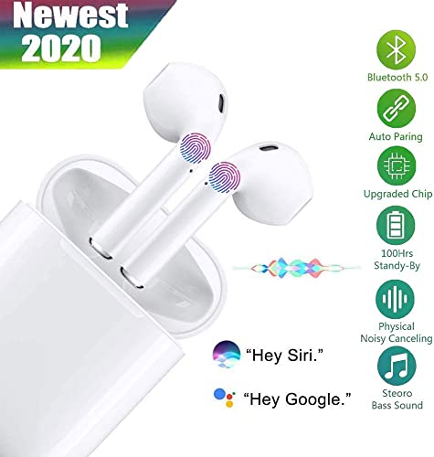 i12 TWS Bluetooth 5.0 Wireless Headphones, IP6 Waterproof in-Ear Sports Headphones, Built-in Microphone and Charging Box, 3D HD Stereo Noise Reduction for Apple Airpods Android iPhone