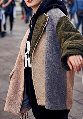 Coat Long amp;S amp;W Loose Lapel Fashion Lambswool M Khaki Sleeve Women's xPFzqYC7w