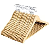 SONGMICS Solid Wood Suit Coat Hangers Non-slip Design with Hanging Bar for Coat Suit Jacket Shirt Pants Set of 20 Natural Finish UCRW001-20