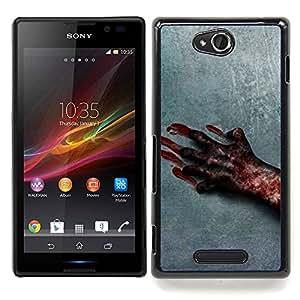 For Sony Xperia C S39h C2305 - Blood Hand Scary Halloween Grey Horrible /Modelo de la piel protectora de la cubierta del caso/ - Super Marley Shop -