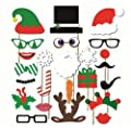 Happy Christmas Photo Booth Props Sticks 24 Pieces, Holiday Day Decoration Santa for Party Supplies - DIY REQUIRED