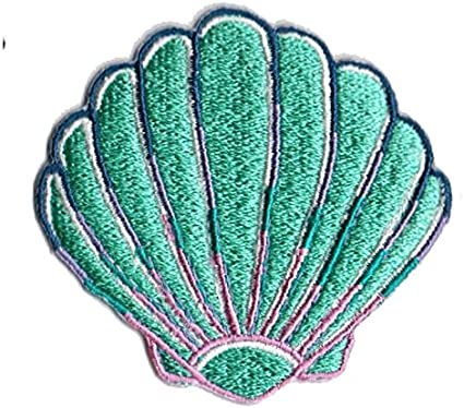 Blue Pink Gold Conch Shell Iron On Patch 2 In