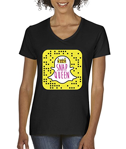 New Way 376 - Women's V-Neck T-Shirt Snap Queen Snapchat App Ghost Parody Funny Small Black]()