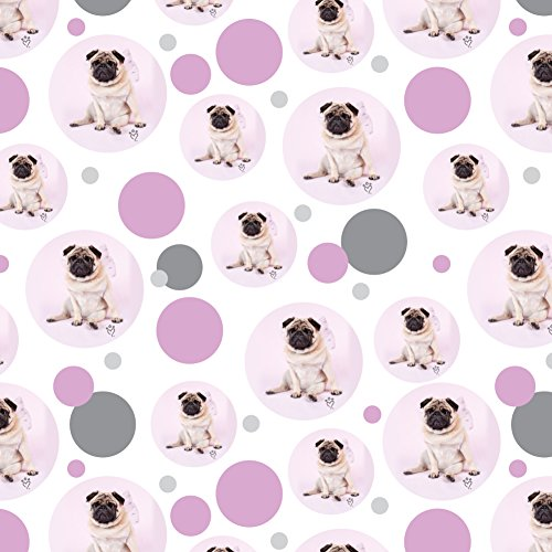 GRAPHICS & MORE Pug Puppy Dog with Angel Wings Pink Premium Gift Wrap Wrapping Paper Roll
