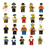 Generic Men People Minifigures Toy (Lot of 20)+ Baseplates--(Set of 1 - 5.1
