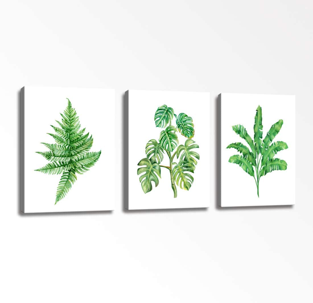 Amazon.com Canvas Wall Art Summer Tropical Plant Green Leaves of ...