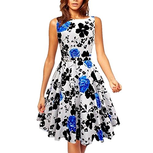 LOBTY Damen Kleider Dress 50er Jahre Vintage-Kleid Hepburn Rockabilly Knielang Kleid mit Blumen Retro Audrey Rock Blau jz5iWoev