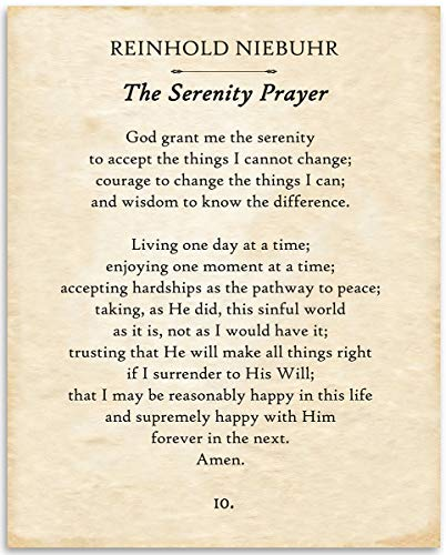 Reinhold Niebuhr - The Serenity Prayer - 11x14 Unframed Typography Book Page Print - Great Gift for Book Lovers, Also Makes a Great Gift Under $15