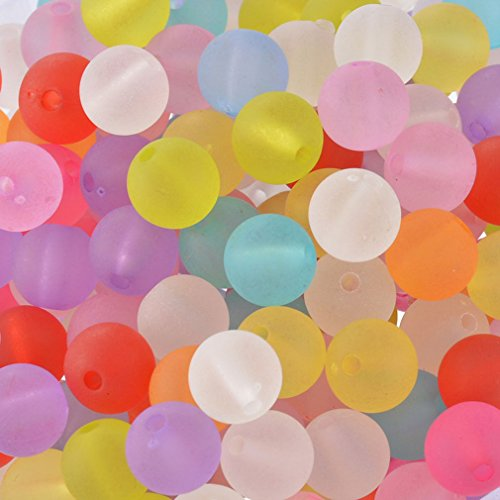 Souarts Multicolor Acrylic Round Loose Beads 10mm Pack of 200pcs ()