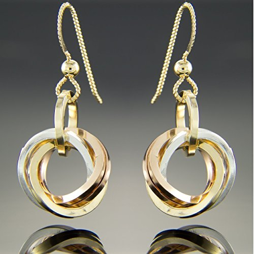 Tri Color Square Knot Dangle Earrings in Sterling Silver Rose and Yellow Gold (Circle Tri Color Earrings)