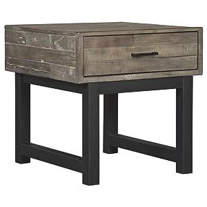 Ashley Furniture Signature Design - Mondoro End Table - Butcher Block Styling - Grayish Brown