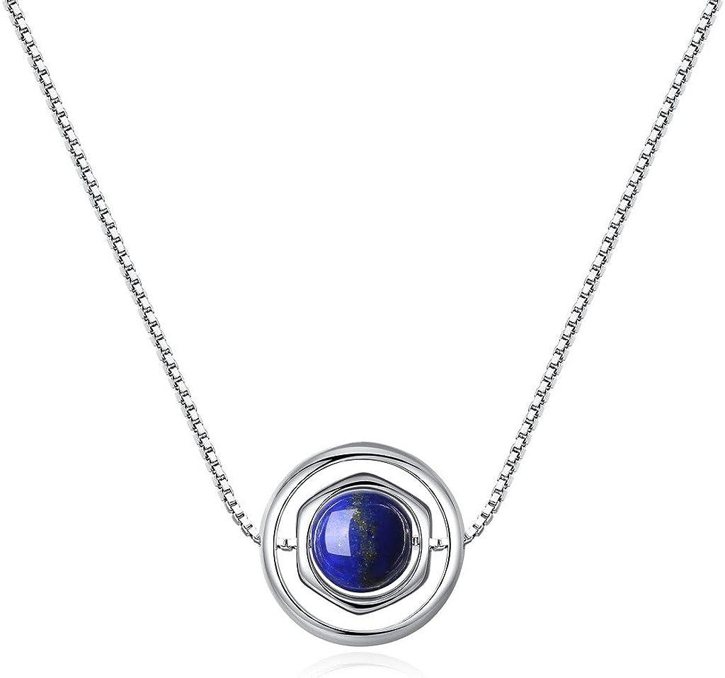COAI® Collar con Colgante de Piedra Genuina Cuenta Lapislázuli con Cadena de Cobre Platada Platino 40cm
